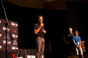Six-time Ironman World Champion Dave Scott speaks during the Ironman closing ceremonies