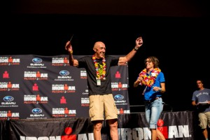 Joe Gati, the oldest competitor in the field, celebrates winning the 75-79 age category in addition to completing his 12th Ironman and 190th triathlon