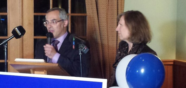 Tony Clement, pictured with his wife Lynne Golding, after winning in the 2015 federal election