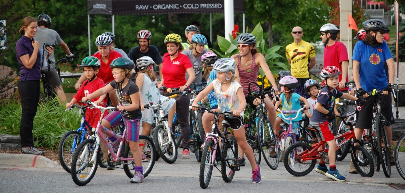 Participants get ready to go on the Mayor's Bike Ride