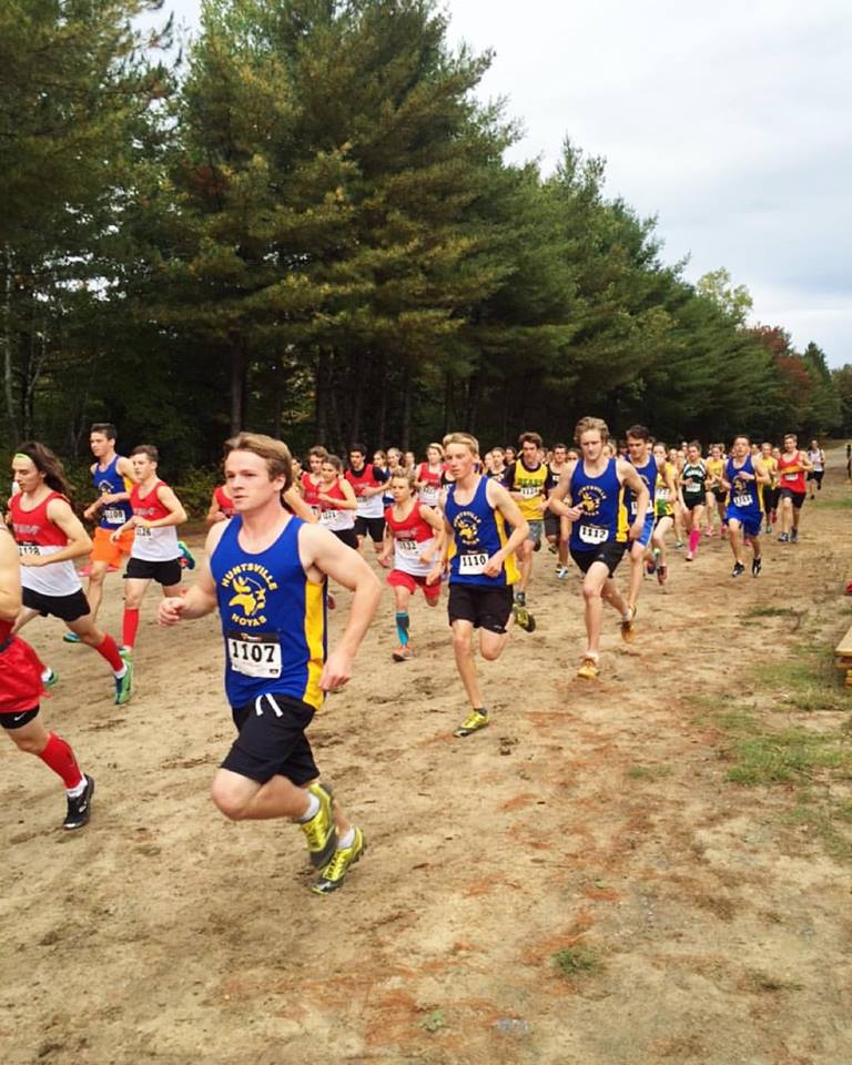 High school cross-country runners - both female and male - compete alongside each other at the recent Huntsville Hoyas Invitational XC Race at Arrowhead Provincial Park. Photo courtesy The SportLab.