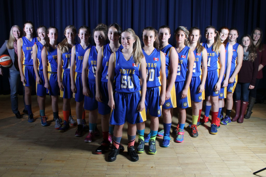 The 2015 HHS Junior Girls Basketball Team (from left to right): Coach Sue Fawcett, Emma McAlpine, Taea Schmidtke, Alexis Roberson, Abby Fawcett, Celeste Dupuis, Mykenzie Dezeil, Anjali Jindal, Tianna Fraser, Madison Buck, Rylee Denny, Paige Jackson, Gabby Arsenault, Jamie Steele, Sonya Tapley, Joey Currie, Alicia McLinden and Co- Coach Jennifer Lauer