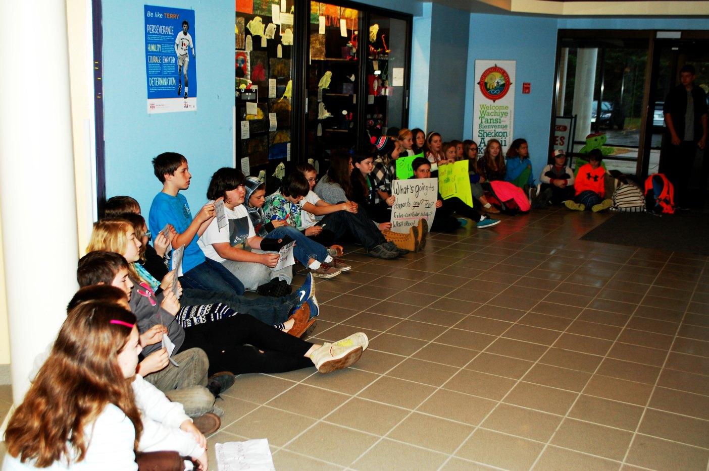 Pine Glen Public School intermediate students hold a peaceful sit-in in the school lobby