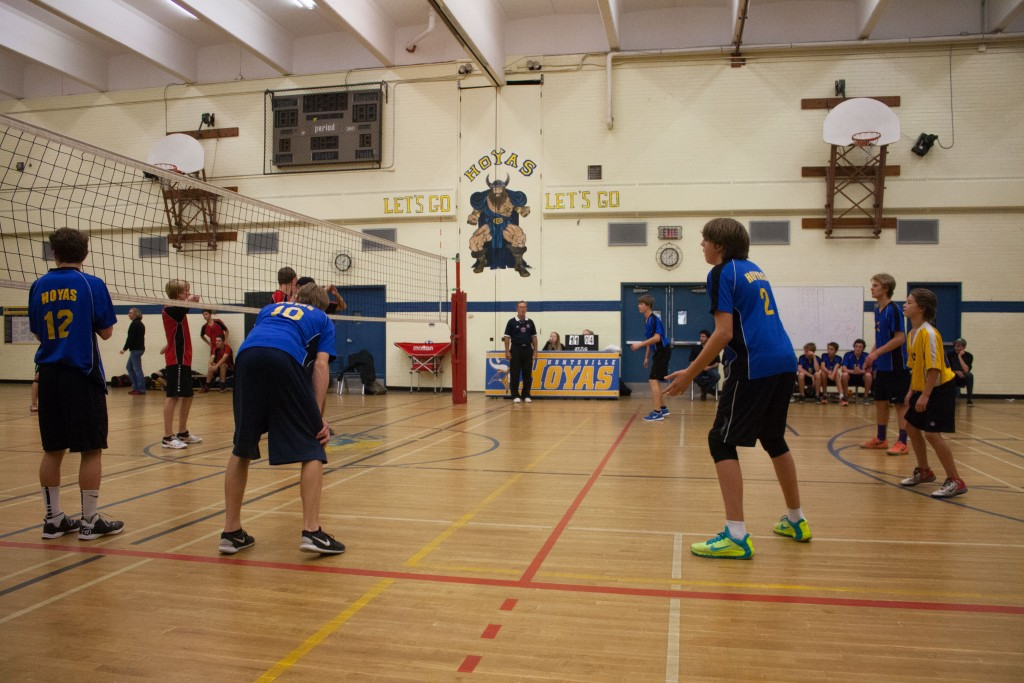(From left to right): Ross Johnson, Ethan Murdy and Tyler Blair prepare to receive a serve from BMLSS during the junior MPS Championship game