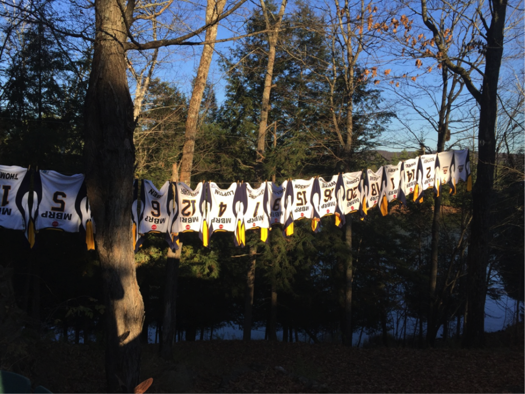 It doesn't get more Canadian than that - MBRP Otters jerseys hang from a clothesline on a sunny Muskoka afternoon