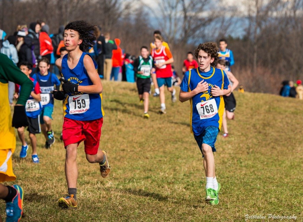 (From left to right): Keegan Chan (#759) and Aidan McClung (#768) keep pace with each other as they run. Image courtesy of Andy Zeltkans