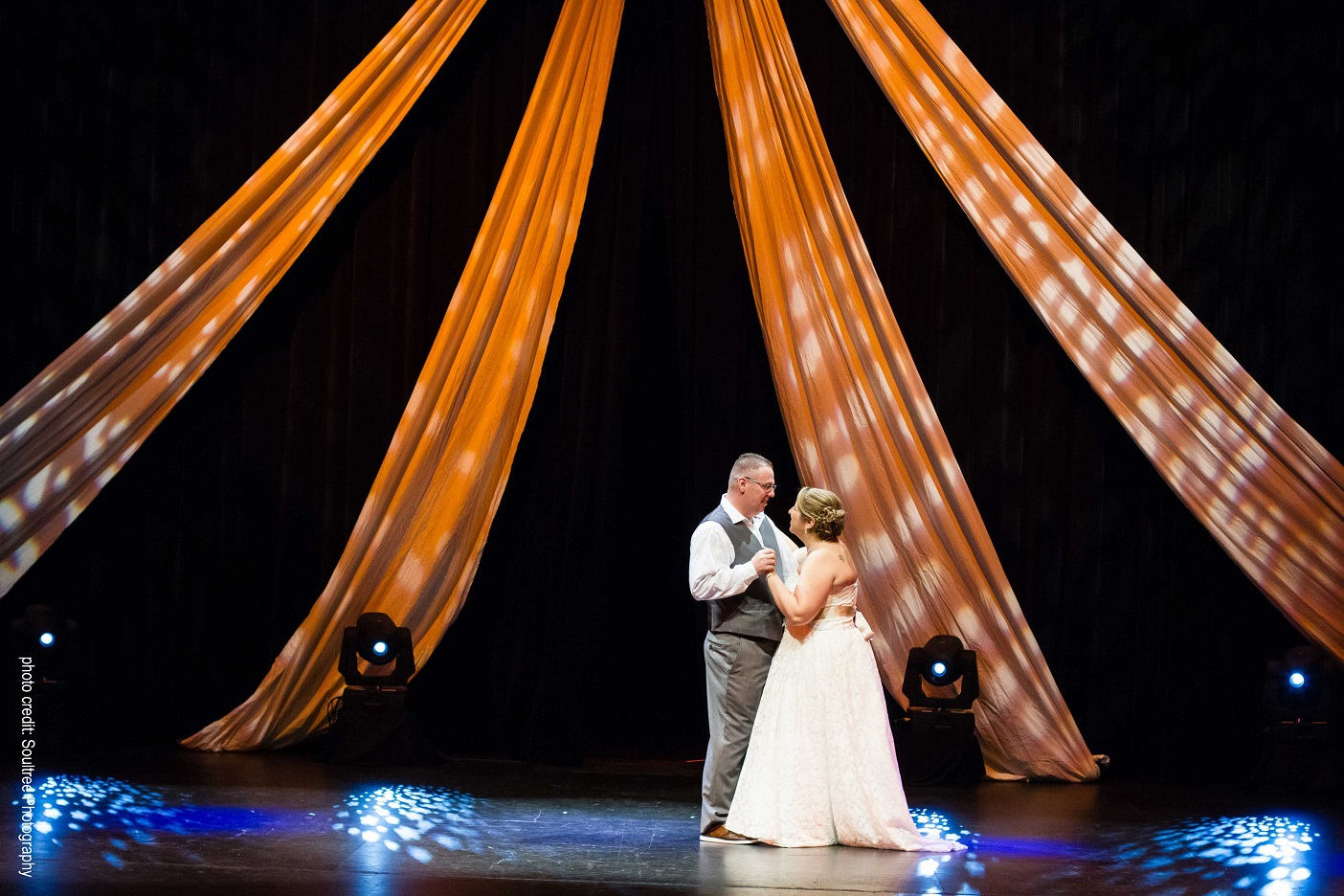 A memorable first dance on stage at the Algonquin Theatre. Photo: Soultree Photography