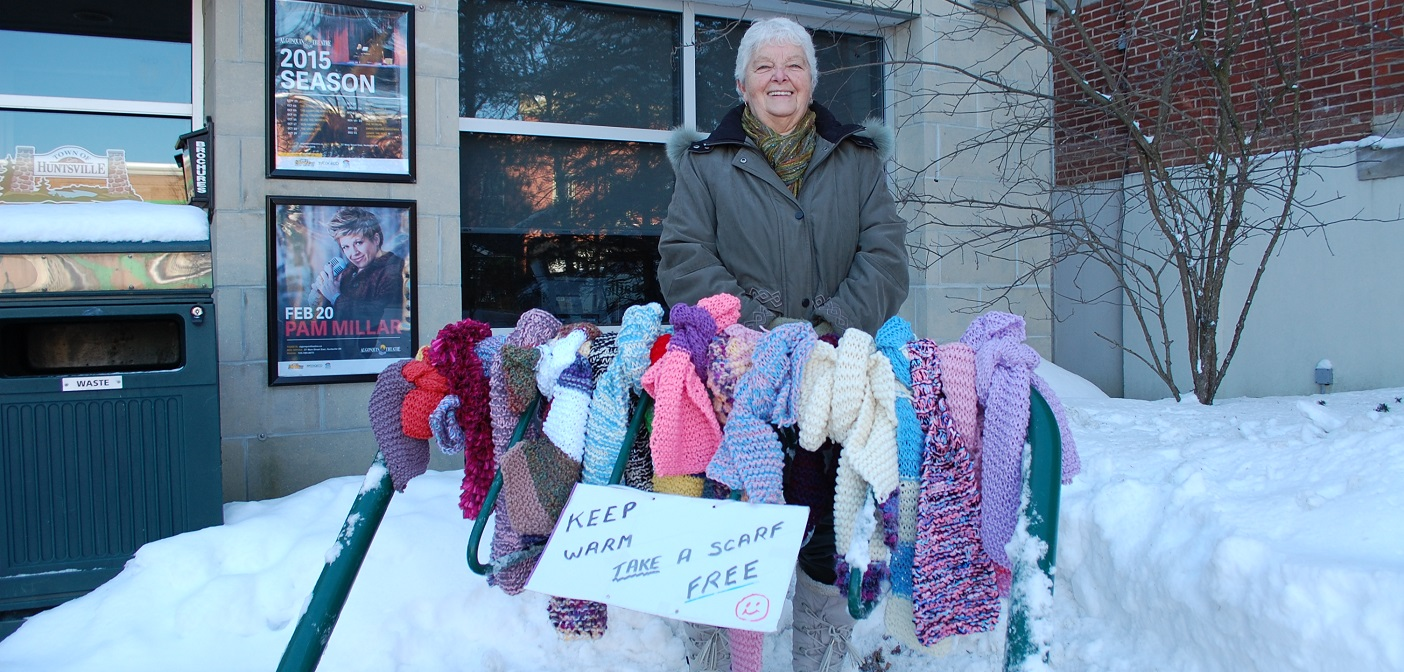 Carol Corry put her knitting skills to good use to help keep local people warm