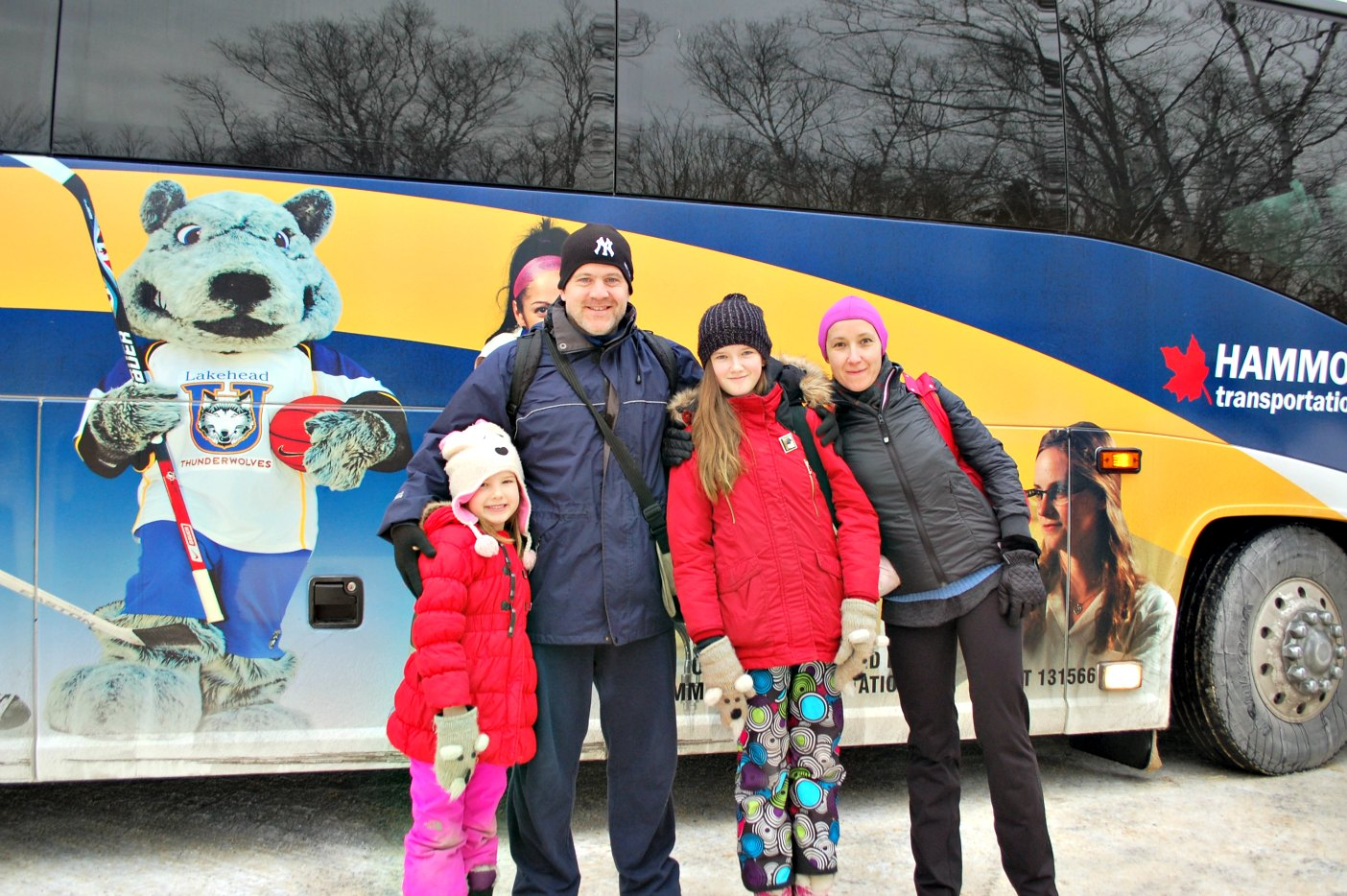 The Burkes, from left Victoria, Geoff, Vera, and Marina, are excited that Parkbus is now making winter daytrips