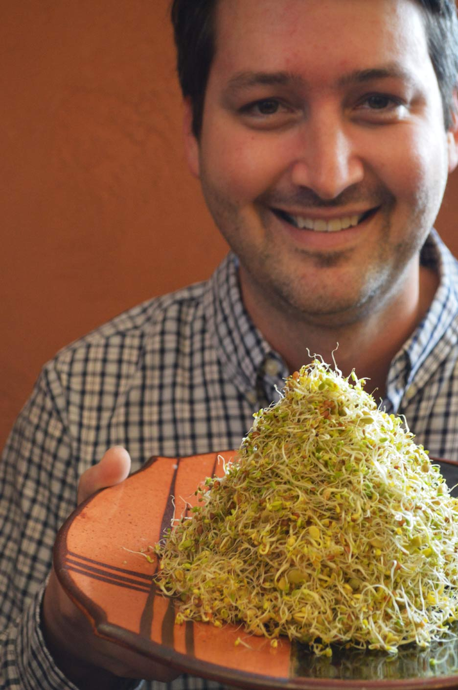 Seth grew this abundance of spicy lentil crunch sprouts in just a few days.