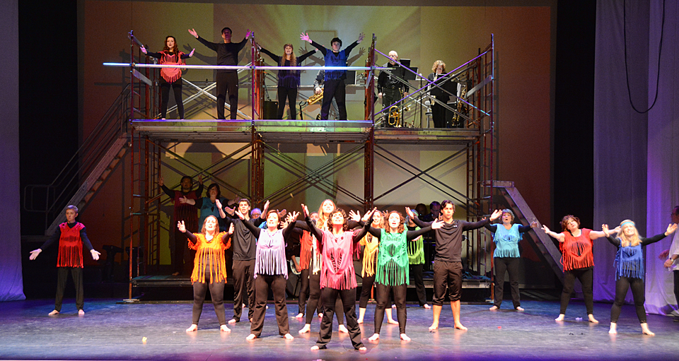 TEN!'s adult ensemble in a scene from Jesus Christ Superstar. Photo: HFA
