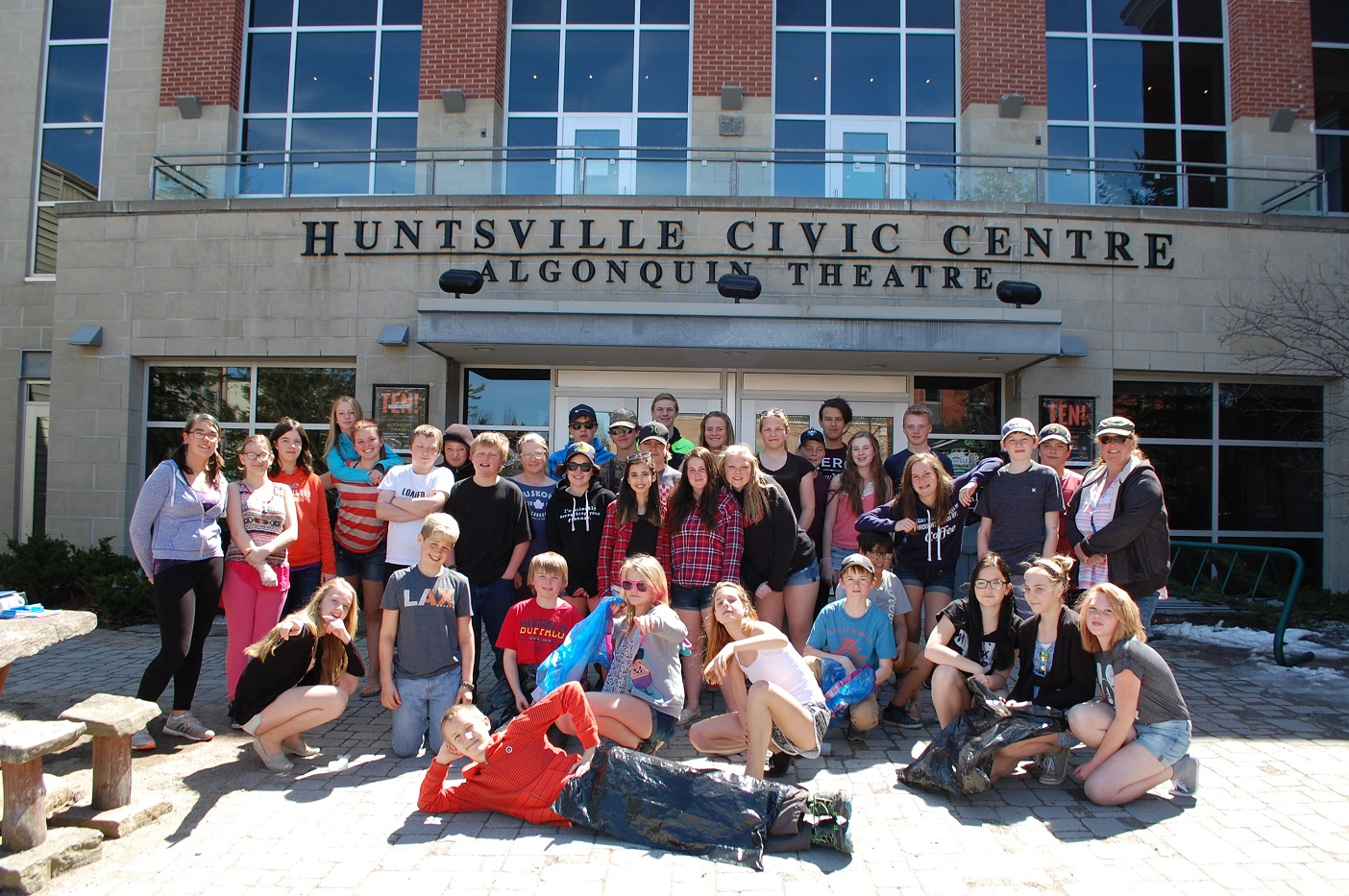 HPS intermediate students gathered at Civic Square before heading out to pick up accumulated garbage from the winter months