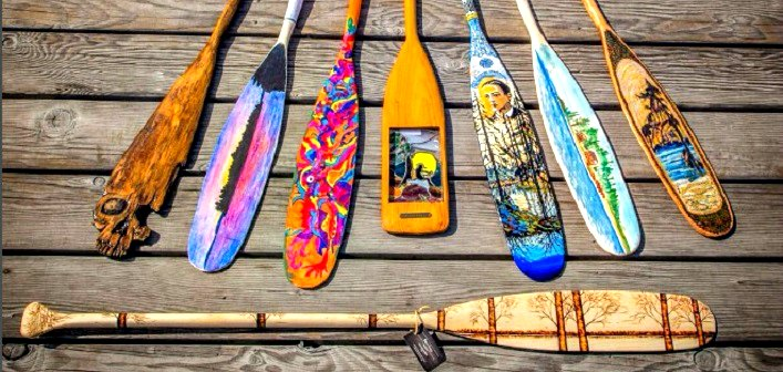 Some of the entries received in the inaugural Algonquin Outfitters Paddle Art Contest (supplied photo)