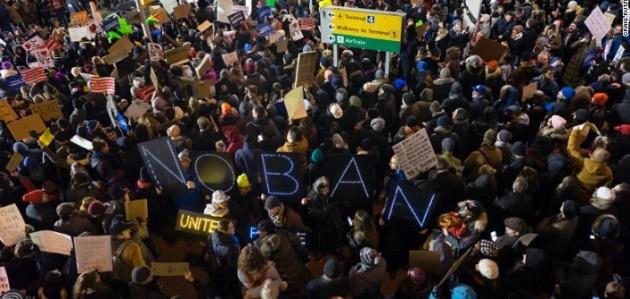 Protesters at JFK International Airport. Photo: cnn.com