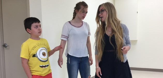 (From left) Nils Buzora, Millie Cassie-Batchelor and Hailey Scott rehearsing a scene from As You Like It