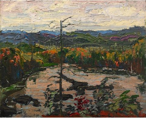 Tom Thomson's View from a Height, Algonquin Park, Fall 2016, oil on composite wood-pulp board (Image: tomthomsoncatalogue.org)