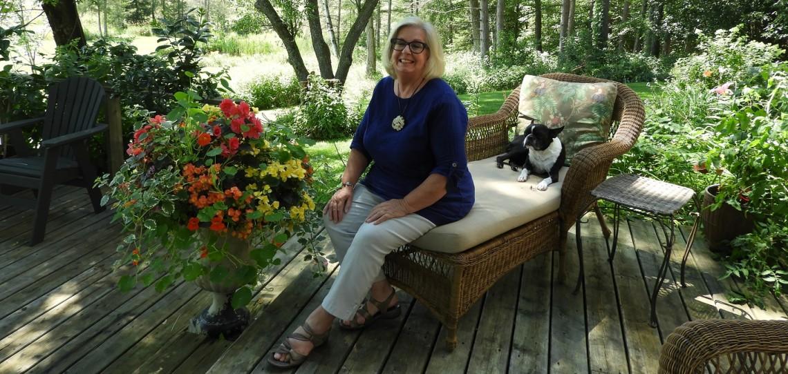 Pamela Smyth at home with her dog Fella