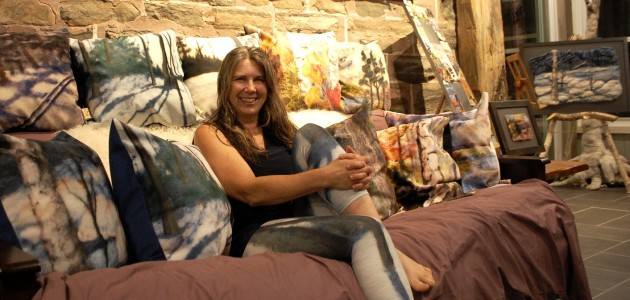 Pam Carnochan in the sunroom at Morgan House, where you can see her works during the Muskoka Autumn Studio Tour