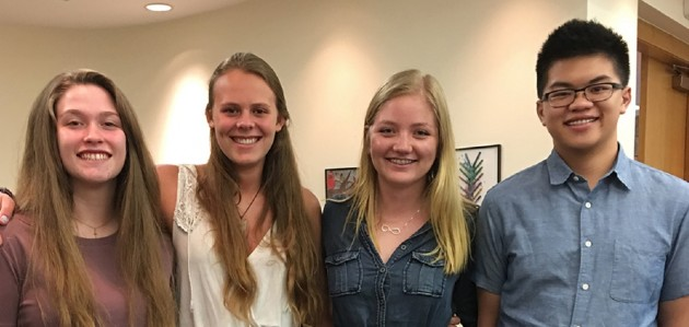 Some of the HHS StAR team members at a TLDSB meeting (from left) Camryn Greenleaf, Laura Rea, Khylie Brown, and Adrian Laksmono (supplied photo)