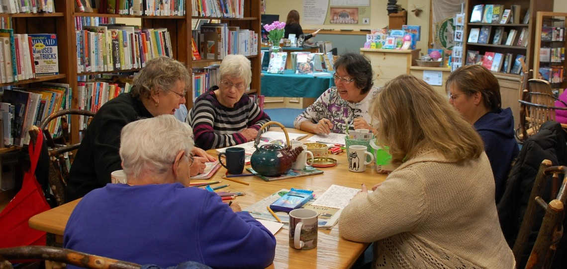 The Shading Ladies at Dwight Public Library (clockwise from foreground left) Ruth Thompson, Catherine Hawkins, Elsie Livingstone, Nellie Sheshewabic, Rose Stannell and Lorraine Blondin