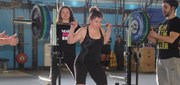 Cindy Bagshaw attempts to lift 210 lbs in the mock powerlifting competition