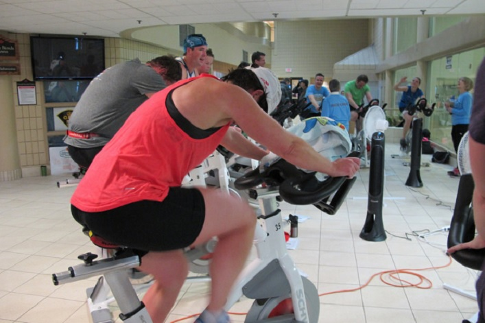 Then a 15-minute spin on a stationary bike (Photo: TriMuskoka)