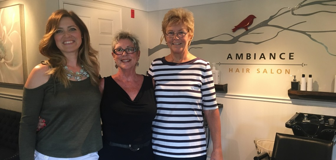 Kathryn Folley (centre), owner of Ambiance Hair Salon, and office manager Marlene Watts (right) are retiring this year. Tanya Blain (left) is the new owner of the salon, which will be renamed Crimson Dawn.