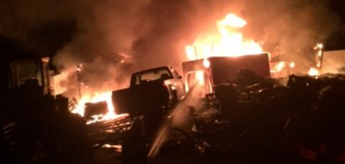 A fire destroyed a building on Aspdin Road in the early hours of Sunday morning, May 6. (Supplied photo)
