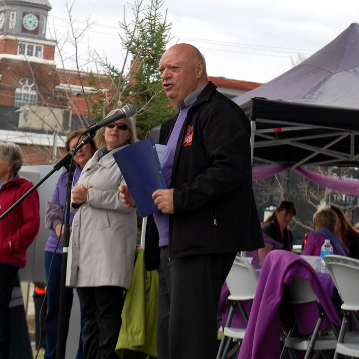 Reverend Derek Shelly leads a celebration of life