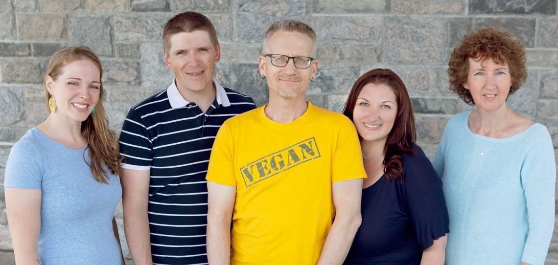 (From left) Muskoka VegFest organizers Leanna Zylstra-Bigwood, Matthew O'Donnell, Pete Vanderlugt, Randi Paradis, and Annmarie MacFadden (supplied photo)