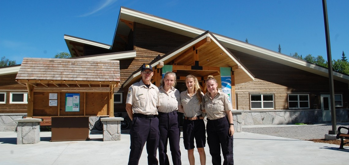 Arrowhead Provincial Park staff (from left) Peter Briand (park superintendent), Julia Huggins, Willow Weiler and Megan Picknell in front of the new visitor centre