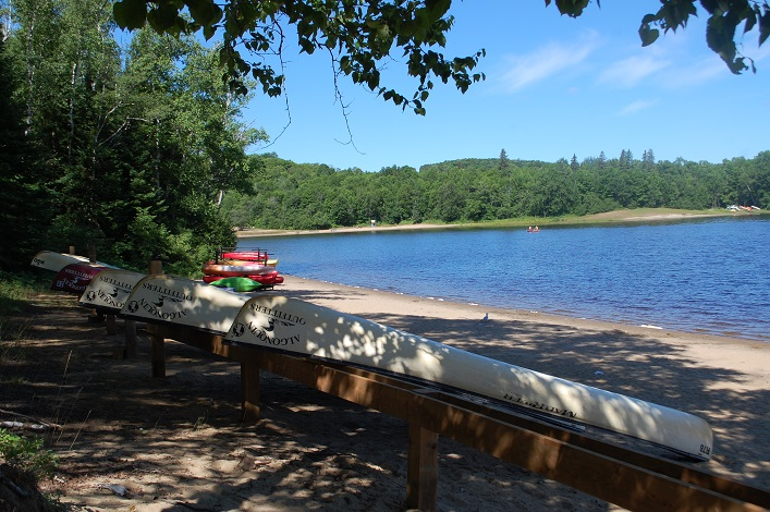 Canoes and kayaks are available for rent for launch at Beach 2 on Arrowhead Lake