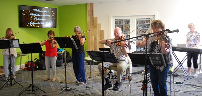 The Fernglen Fiddleheads provided entertainment for the event