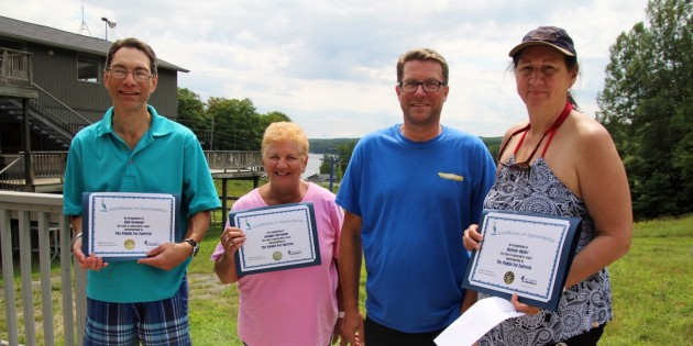 This year's top fundraisers are (from left) Rob Seymour, Jeannie McLennan, The Stilwell Family, represented by Chris Stilwell, and Marlene Müller.