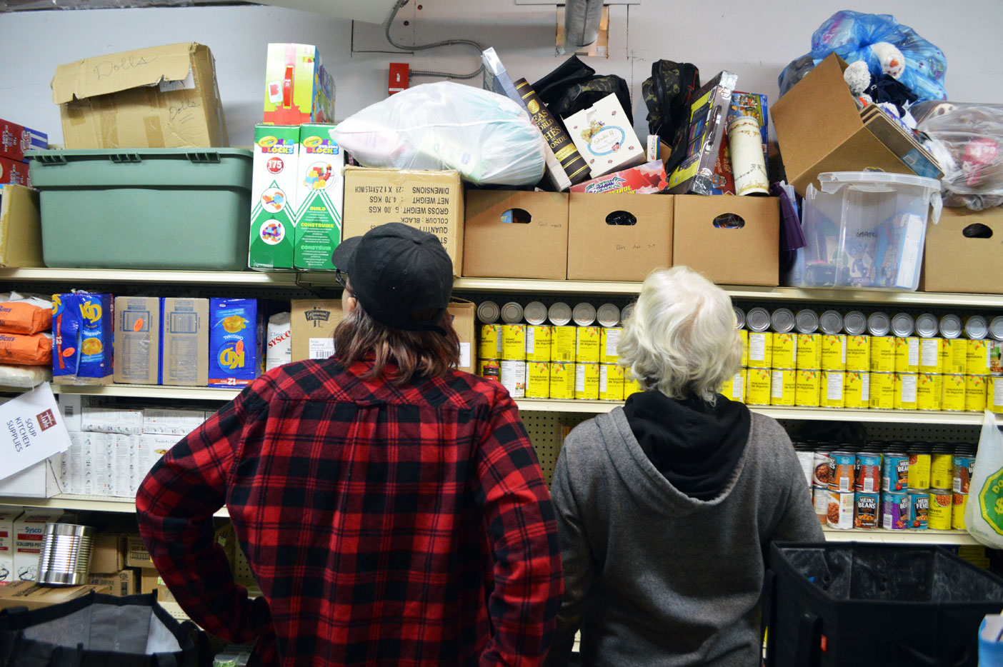 Kathy Rogers (left) and Kathy Verhey survey the donated goods. Above is a selection of presents for special occasions like birthdays and anniversaries.
