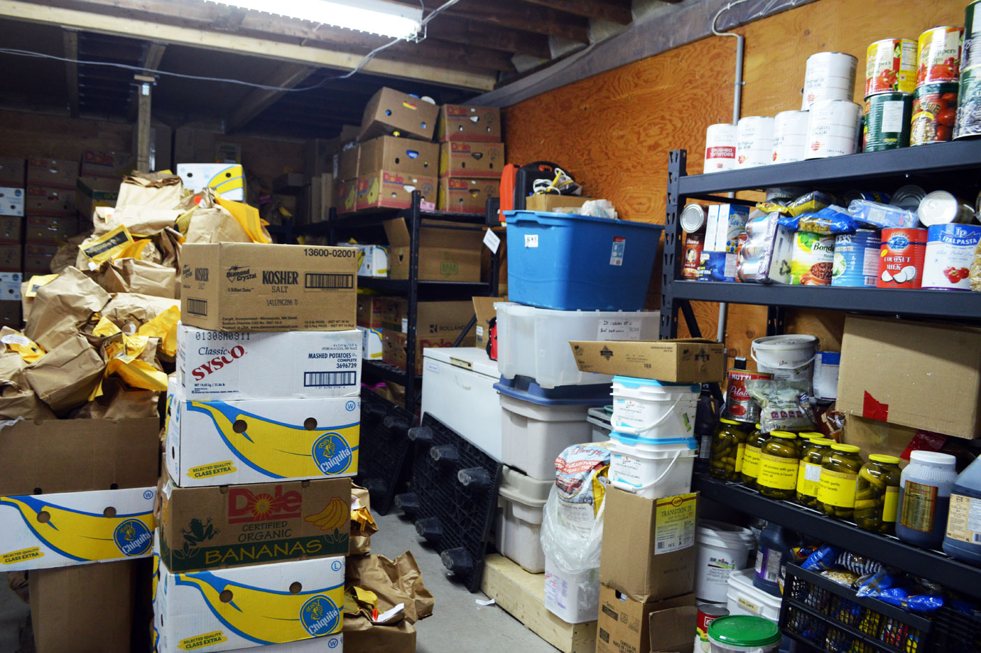 This is where it all happens. The storage room at the food bank is organized and has a zero waste policy. Nothing goes to the landfill and what isn't used goes somewhere where it will be.