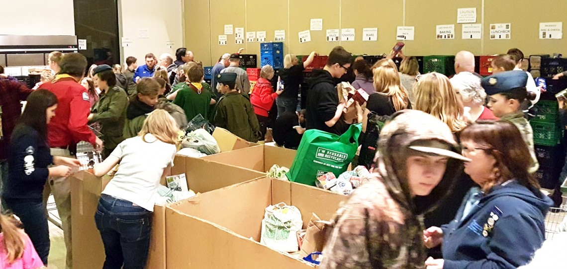 Hundreds of volunteers helped sorted the many tons of food donated during Project Porchlight