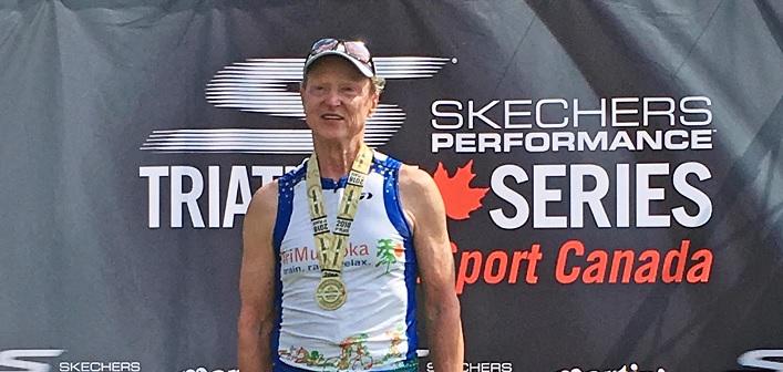 Don McCormick at the 2018 Bracebridge triathlon (supplied)