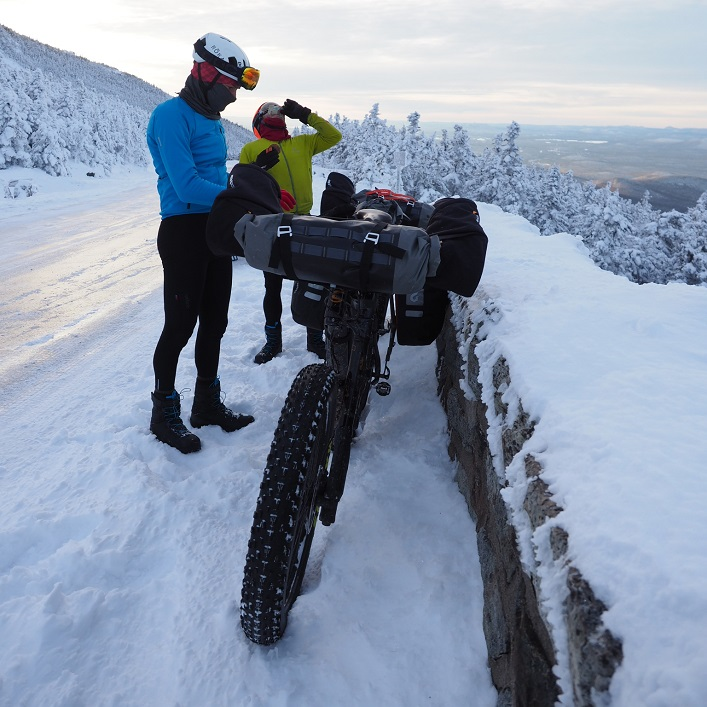 Ted King (front) and Ryan Atkins pause to fuel up on a trip up Whiteface Mountain in New York State (Photo: Eric Batty)