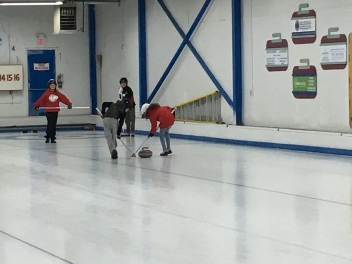 Some of HCC's junior curlers in practice