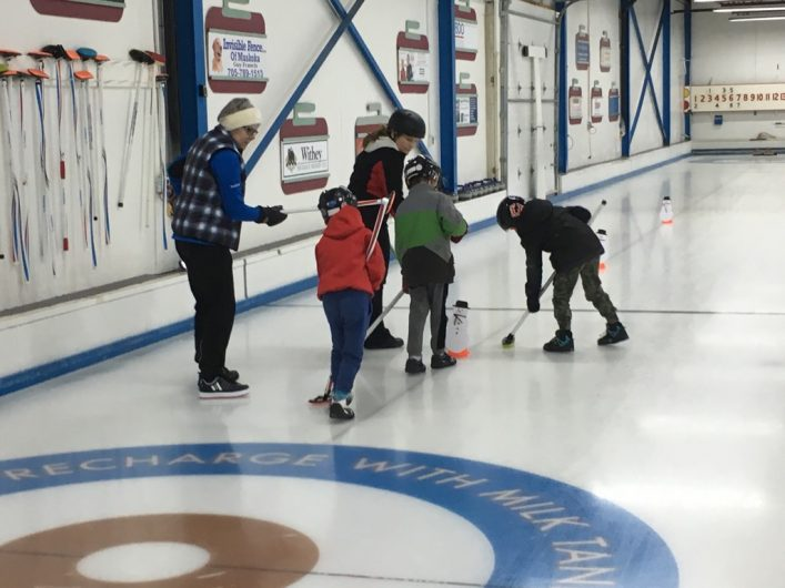 HCC's newest Little Rocks curlers practice their shots