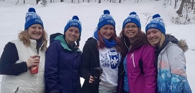 Muskoka Builders' Association Walking Proud (from left) Jocelynn Briggs, Stephanie Piercey, Kirsten Dale, Katy McGregor and Nikki McGregor at CNOY 2019 (supplied)