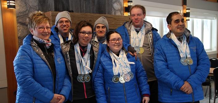 The Special Olympics Muskoka cross-country ski team (from left) coach Cindy Blake, Randy MacDonald (Coon), Samantha MacKenzie, Mark Cheek, Amber Bucholtz, James Clarke and John Groenevelt (supplied)