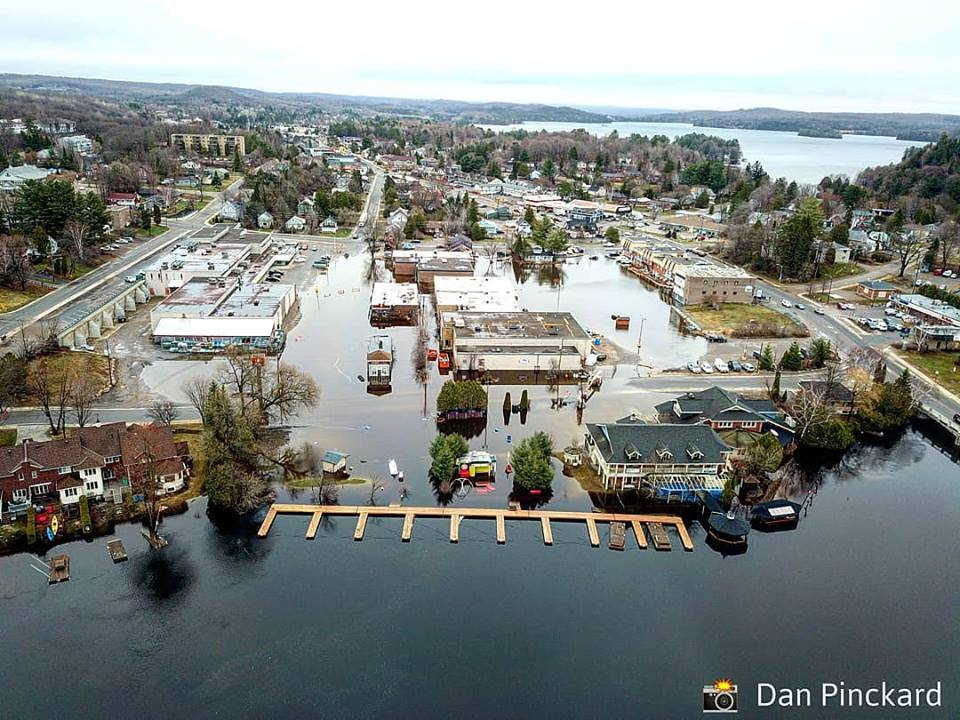 The Muskoka River overflowed its banks onto John and Cann Streets and Brendale Square (Photo: Dan Pinckard)