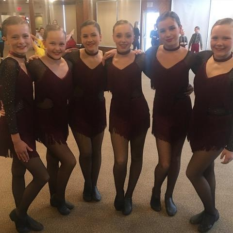 The JJ Dance Pre Competitive Jazz group (from left) Lauren Lane, Allie Peace, Katie Fernandez, Emma McLellan, Ava Williamson, and Samantha Chochlowsky won first place overall (supplied)