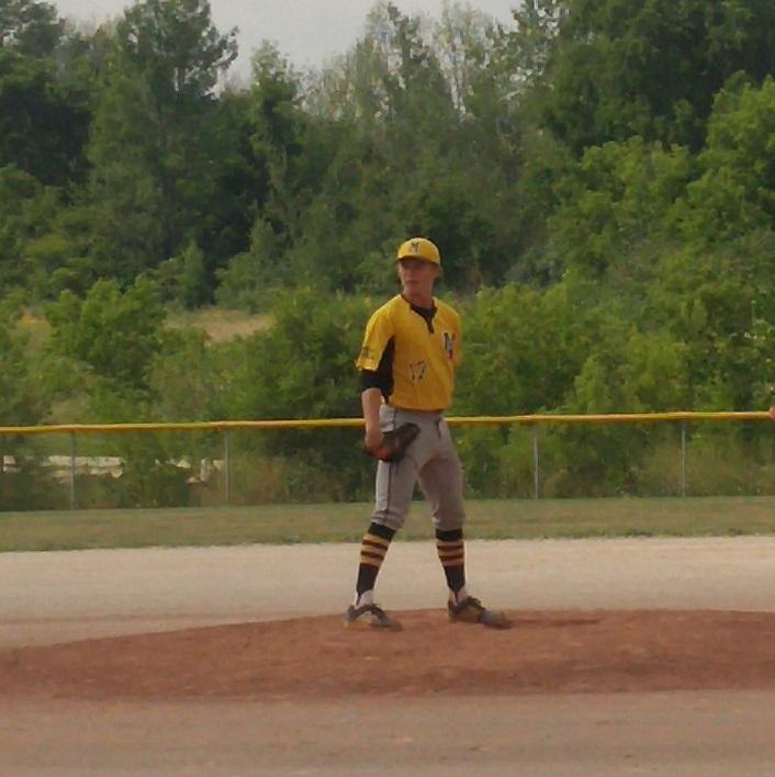 Logan McKnight on the pitcher's mound