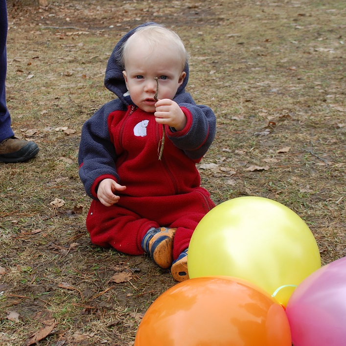Dale Crawford was as enthralled by the sticks and balloons as the eggs