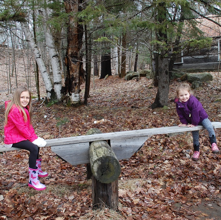 Nova (left) and Luna Shaver had some fun on MHP's teeter totter after the egg hunt