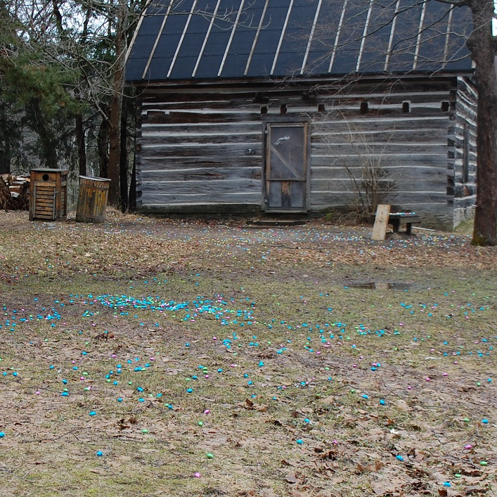 A field of eggs greeted the kids. The pioneer village was divided into sections by age group.