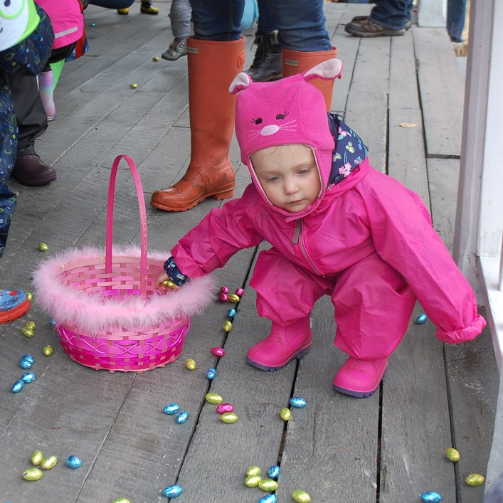 Vixen Bennett, 2, had lots of eggs to choose from